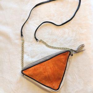 ASOS Suede Color Block Triangle Cross Body Bag